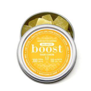Buy Boost Balanced 1:1 (CBD:THC) Sour Lemon Gummies UK